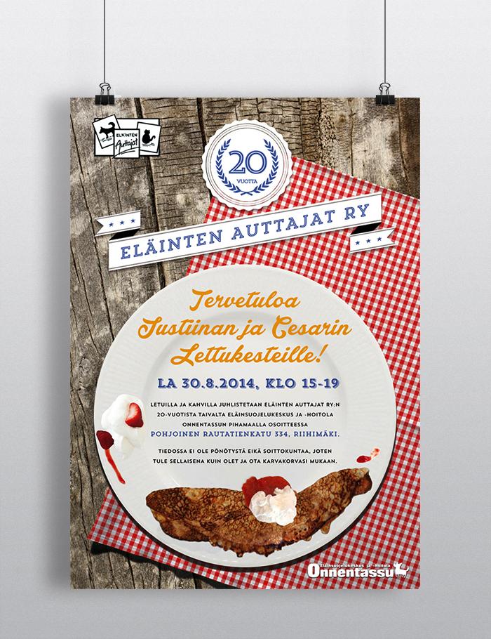 Eläinten Auttajat Ry 20th Years Anniversary + Pancake Party Poster 2014